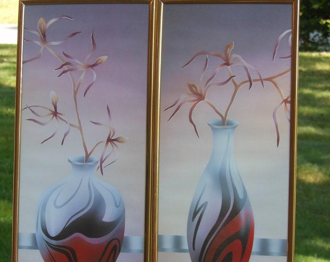 Two Carlos Rios Vase Prints