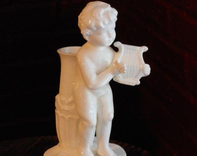 Lyre-Playing Blanc de Chine Cherub Bud Vase