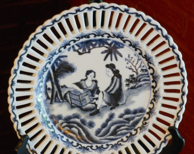 Blue & White Illustrated Chinese Plate