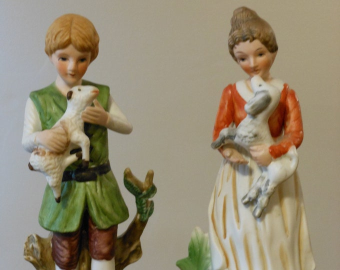 Porcelain Bisque Country Male & Female Figurines