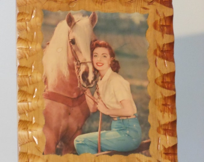 Decoupaged Pal-O-Mine Calendar Cowgirl on Notched Wooden Board
