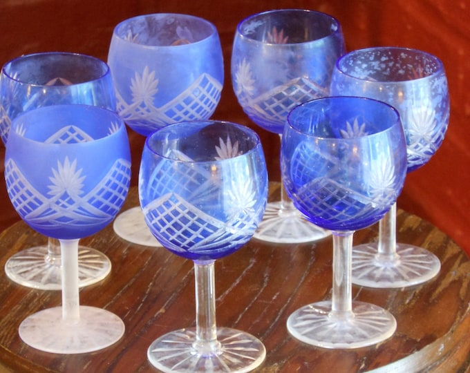 Seven Blue Glass Etched, Frosted Aperitif Glasses