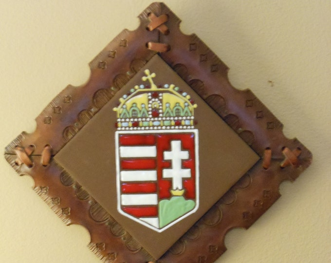 Leather & Tile Crest of Historic Hungarian Flag Wall Hanging