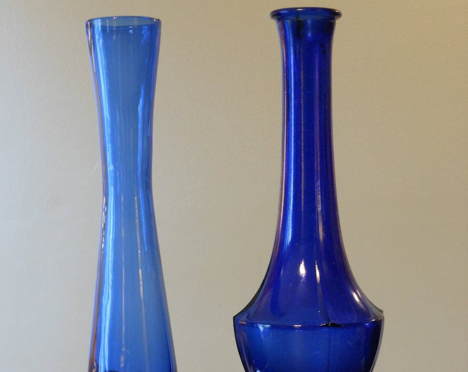 Two Blue Glass Bud Vases