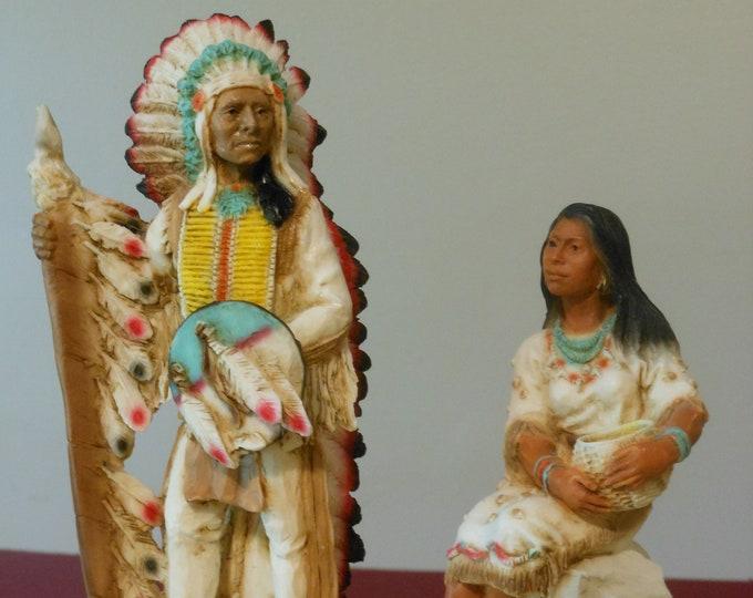 Castagna Male & Female Native American Figurines