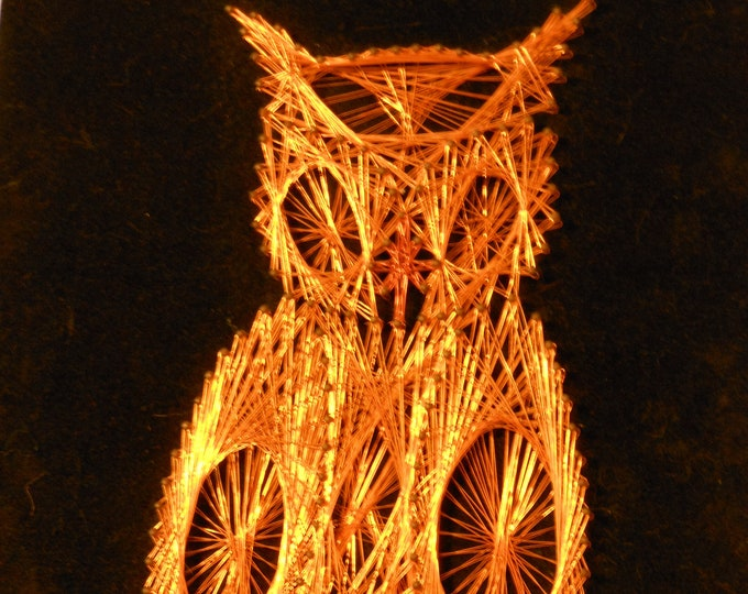 Copper Wire & Peg Owl on Velvet and Board
