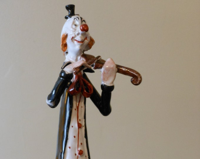 Vintage Poli Cesare Italian Clown Figurine with Violin by TP Ceramiche