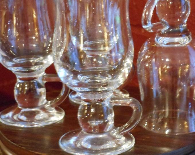 Set of Four Clear Glass Mugs/Tumblers