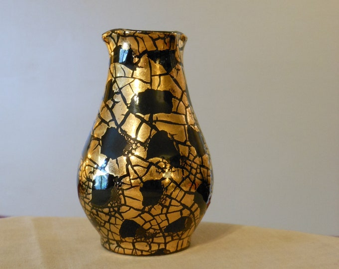 Black and Gold Small Decorative Bud Vase