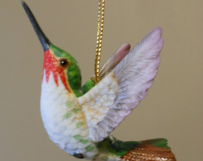 Two Handcrafted Vintage Ornaments, Lenox Porcelain Hummingbirds: Calliope and Broadtail