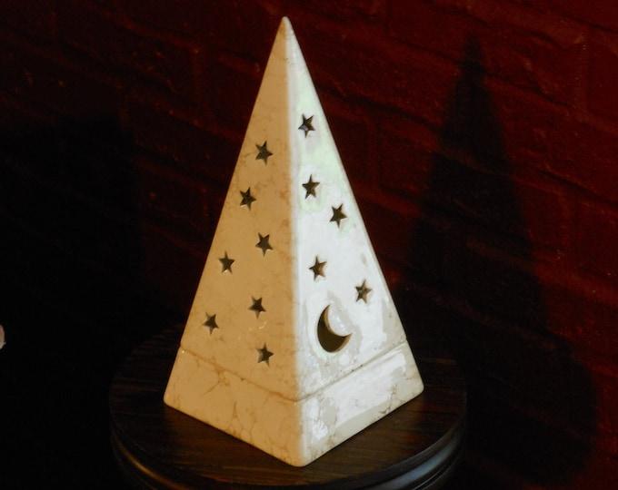 Two-Piece Stars & Moon Pyramid Tea Light Candle Holder