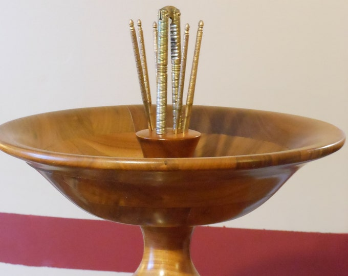 Metal Nutcracker Set with American Walnut Wooden Pedestal Bowl