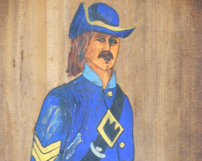 Vintage Soldier in Blue Painted on Stained Board