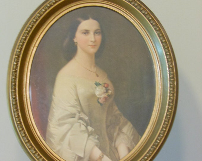 Portrait of Nineteenth-Century Woman in an Oval Frame