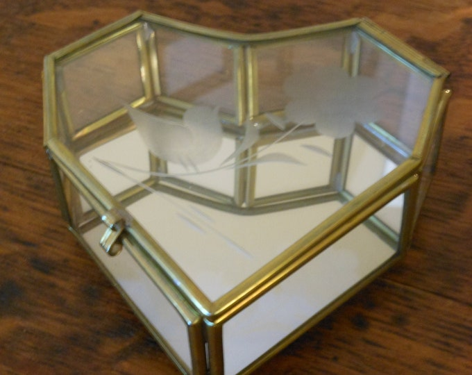 Vintage Brass & Etched Glass Decorative Heart Box