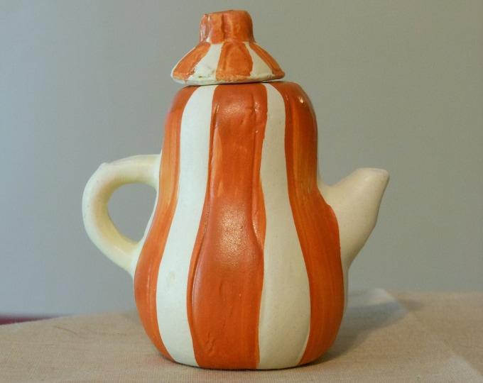 United States Commemorative Fine Arts Gallery Orange & White Miniature Teapot