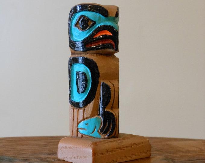 Small Vintage Wooden Alaskan Tlingit Eagle Totem