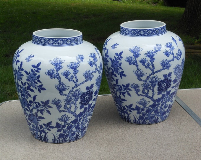 Two 12-Inch Chinese Ginger Jar Blue & White Planters