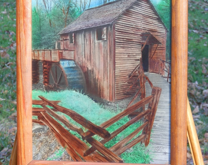 Framed Autumn Mill Painting