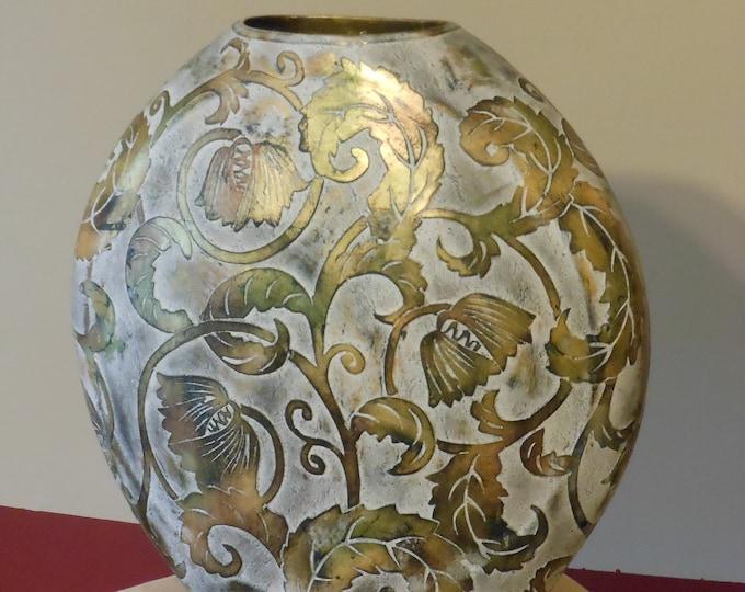 A.B. Honda 15 x 15 inch Gold Floral Vase