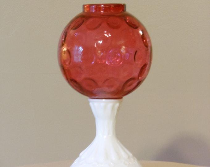Fenton Coin Dot Cranberry Glass & Porcelain Vase