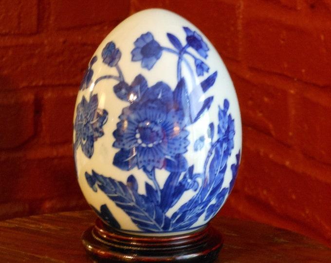 Blue & White Decorative Floral Ceramic Egg