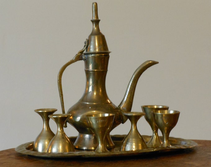Miniature Set: Brass Dallah, Tray and Cups