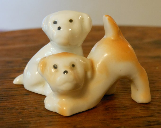 Two Miniature Ceramic Puppy Dogs