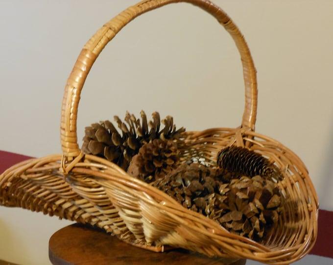 Large Woven Decorative Basket w/ Pine Cones