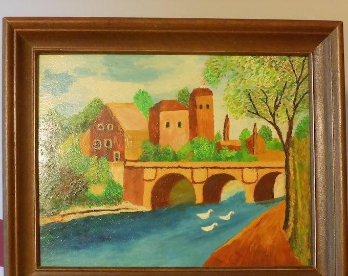 Oil on Cardboard Painting (Signed Margaret Haserr Kamp)