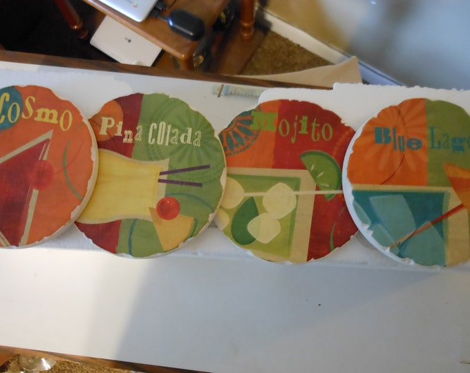 Set of Four Hand Painted Plaster Cocktail Coasters