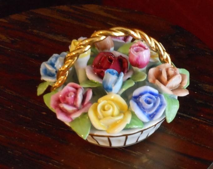 Bright, Colorful Ceramic Flower Basket