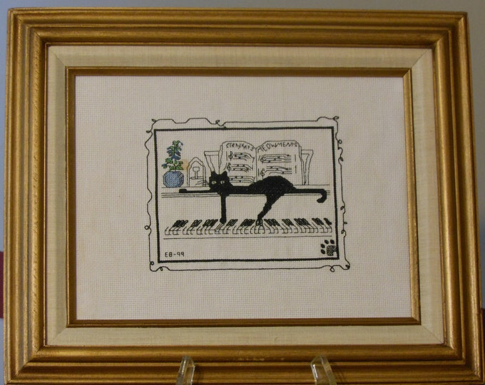 Cat Lying on Piano Keys Needlework
