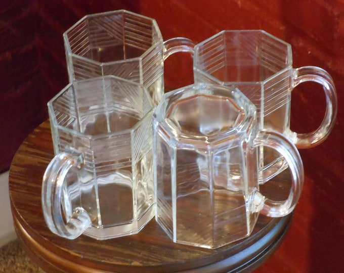 Arcoroc USA Octime Set of Four Clear Etched Glass Mugs