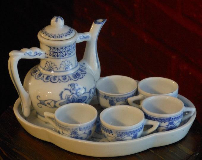 Vintage Blue & White Miniature Tea Set