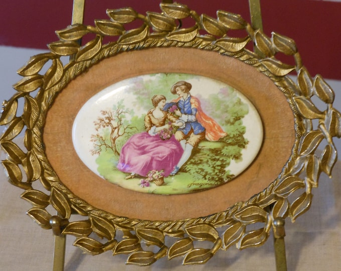 Vintage Fragonard Cameo Framed in Metal Wall Hanging