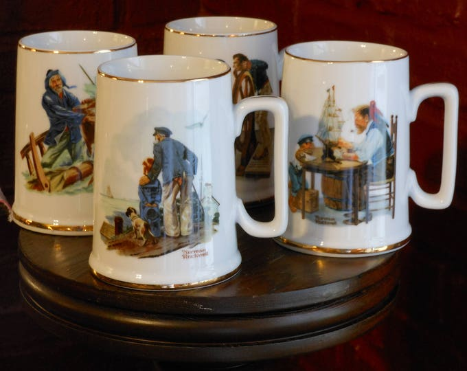 Norman Rockwell Long John Silver's Seafarers Collection Porcelain Tankard Complete Set (1985)