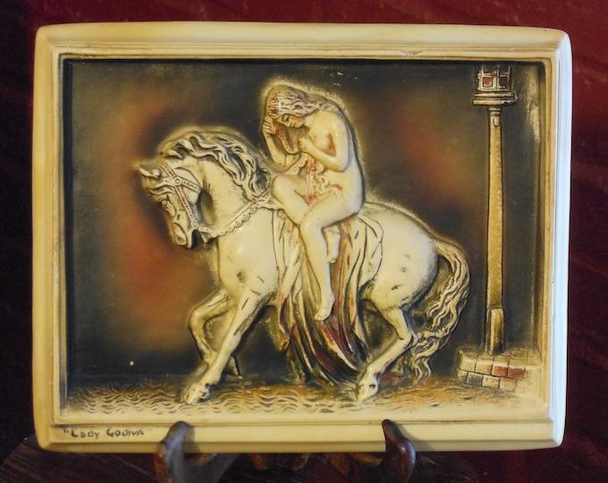 "Vintage Ivorex 3-D ""Lady Godiva"" Plaque"