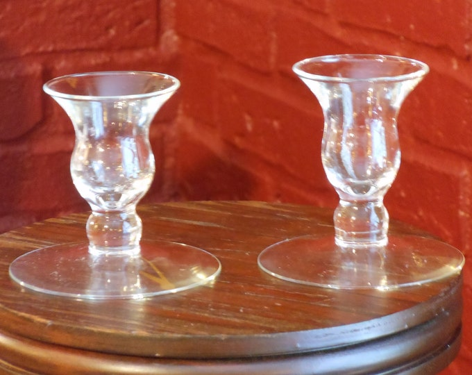 Two Vintage Glass Candleholders