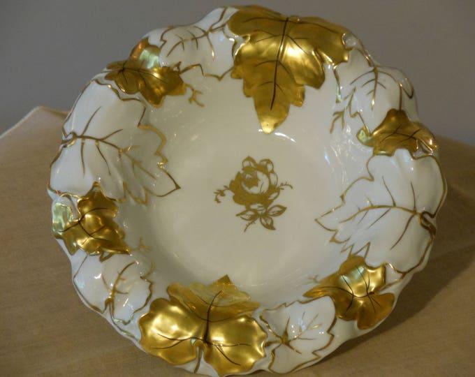 Vintage Von Schierholz Gold & White Porcelain Bowl