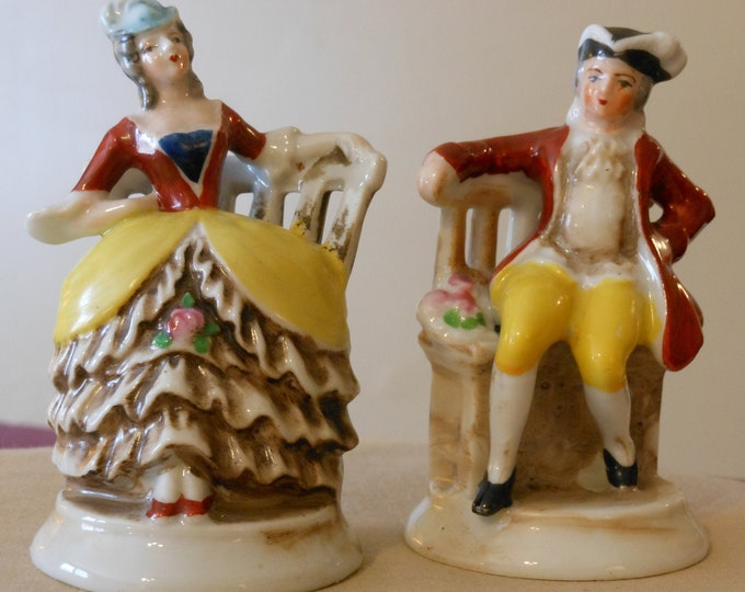 Miniature French Colonial Occupied Japan Male & Female Figurines
