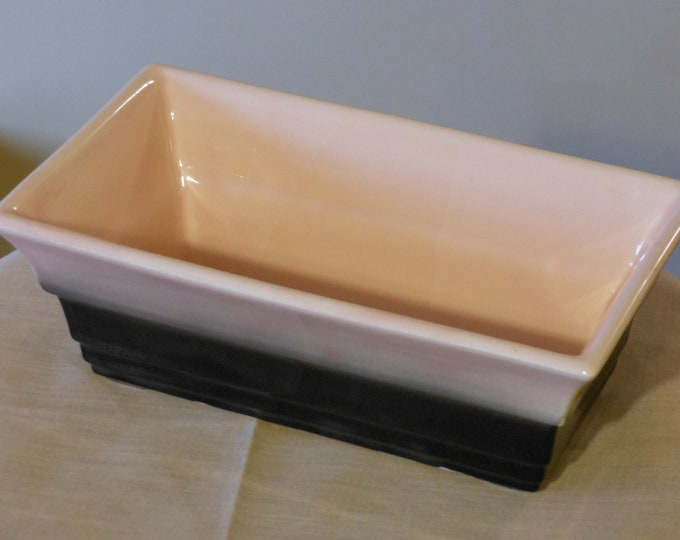 Vintage Hull Pink & Black Ceramic Planter