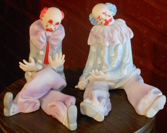 Vintage Rare Enesco Sad Clowns