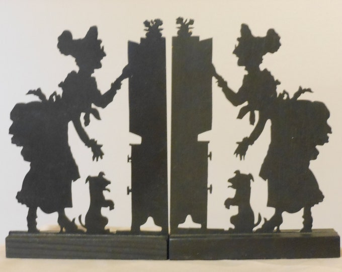 A Pair of Old Mother Hubbard Black, Thin Wood Cutouts