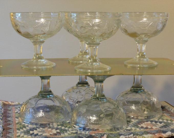 Eight Vintage Indiana Glass Stemmed Sherbet Bowls