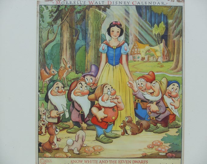Morrell's Walt Disney Calendar: Snow White & the Seven Dwarfs, December 1942