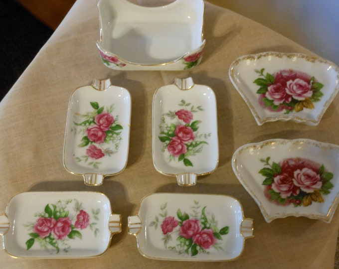 Moss Rose Pattern: 4 Ash Trays with Caddy and 2 Trinket Dishes