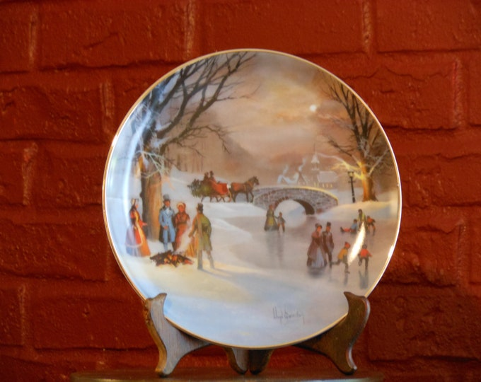 Holiday Skaters Plate by Lloyd Garrison, 1987