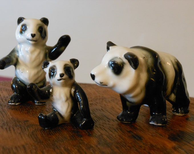 Miniature Herter's Inc. Ceramic Panda Bear Family