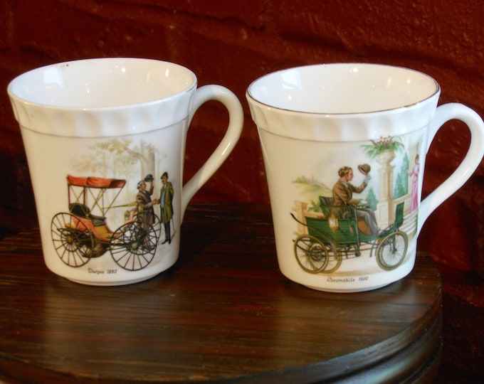 Two Staffordshire Crown Fine Bone China Antique Automobile Mugs: Locomobile & Duryea